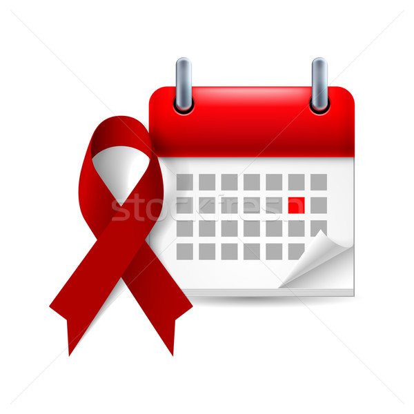 Burgundy awareness ribbon and calendar Stock photo © dvarg