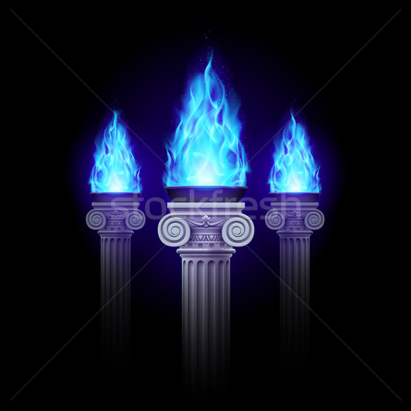Oszlopok kék tűz három ősi oszlop Stock fotó © dvarg