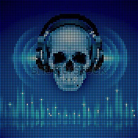頭蓋骨 ヘッドホン ディスコ イコライザ スペクトル 色 ストックフォト © dvarg