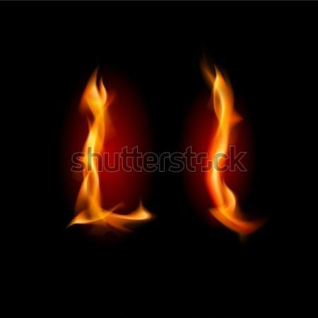 Ardente carattere lettera l illustrazione nero texture Foto d'archivio © dvarg