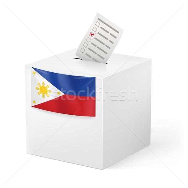 Foto stock: Cédula · caixa · votação · papel · Filipinas · eleição