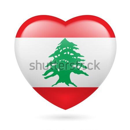 Szív ikon Libanon zászló színek szeretet Stock fotó © dvarg