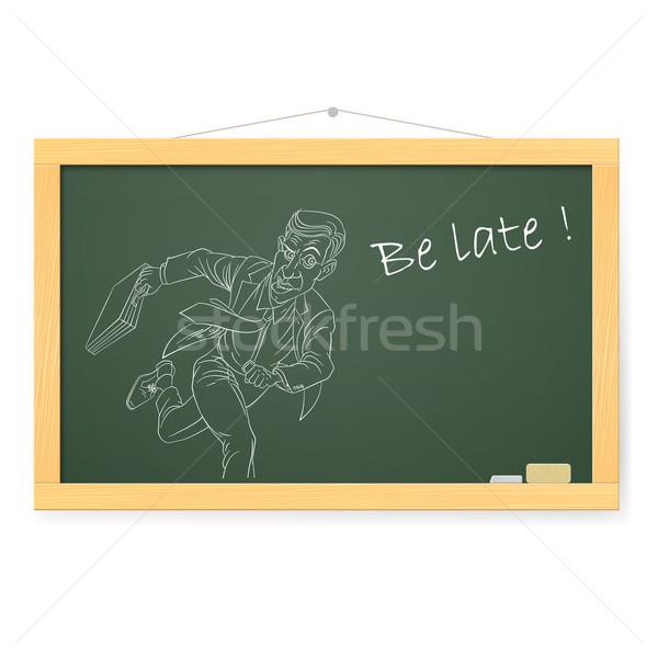 Blackboard zakenman lopen illustratie witte teken Stockfoto © dvarg