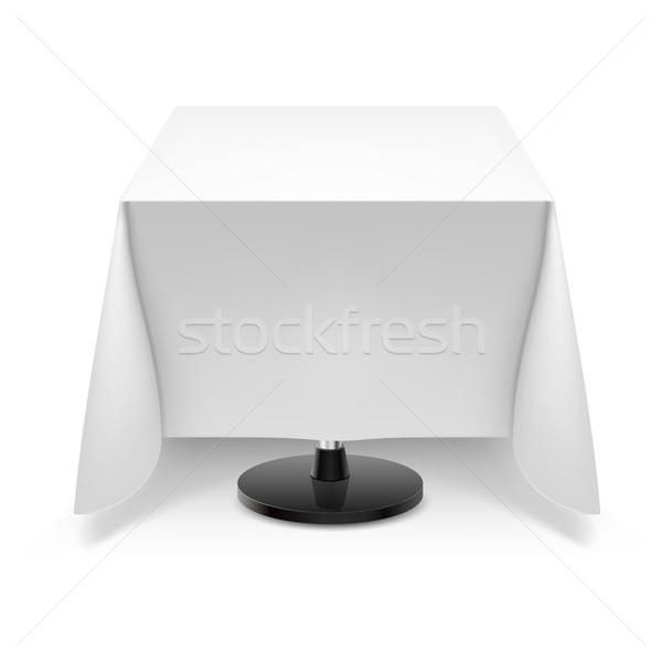 квадратный таблице белый скатерть обеденный стол ногу Сток-фото © dvarg