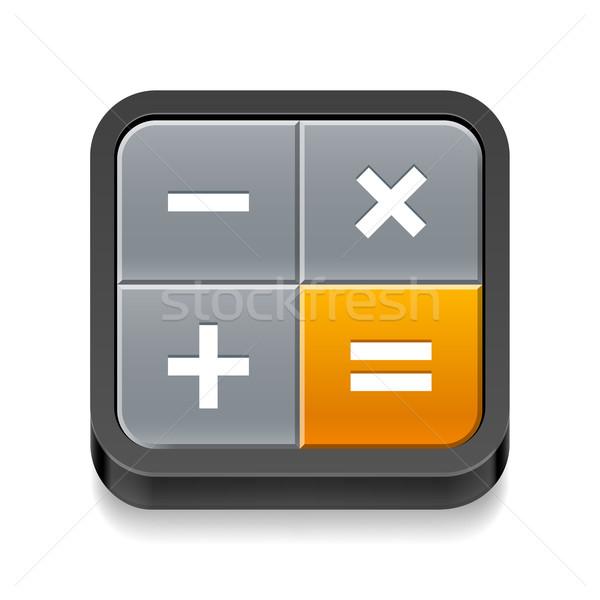 Kalkulator ikona cztery przyciski biały projektu Zdjęcia stock © dvarg