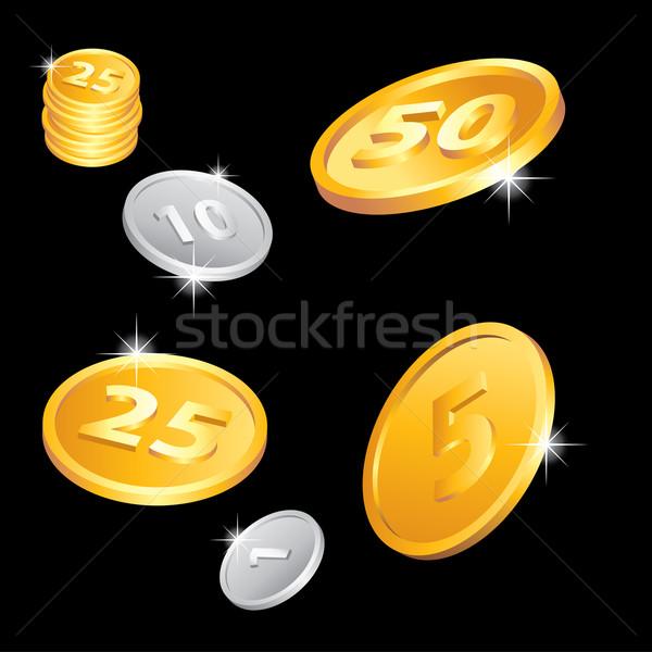 Foto stock: Dourado · prata · moedas · ilustração · negócio · projeto