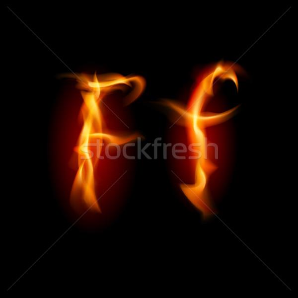 Fiery font. Letter F Stock photo © dvarg