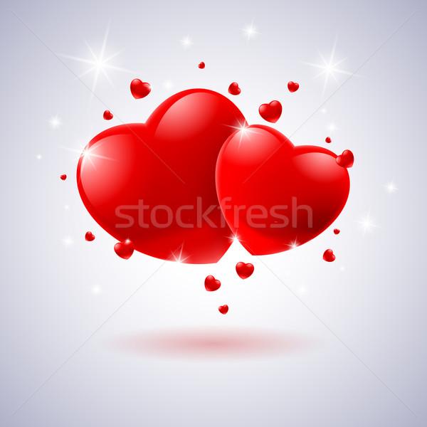 красный сердцах карт иллюстрация белый дизайна Сток-фото © dvarg