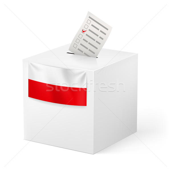 Stock photo: Ballot box with voicing paper. Poland.