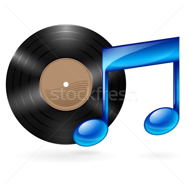 Muziek icon vinyl schijf Blauw Stockfoto © dvarg