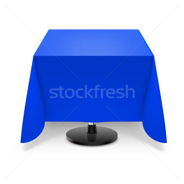 Kare tablo mavi masa örtüsü yemek masası bacak Stok fotoğraf © dvarg