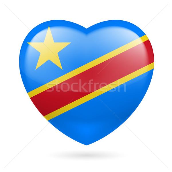 Serca ikona demokratyczny republika Congo miłości Zdjęcia stock © dvarg