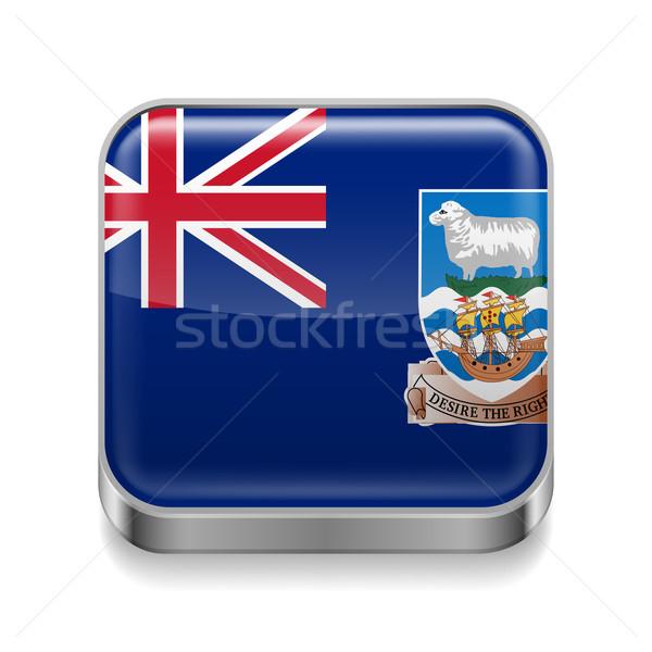 Fém ikon Falkland-szigetek tér zászló színek Stock fotó © dvarg