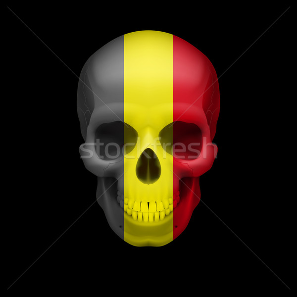 Belgian flag skull Stock photo © dvarg