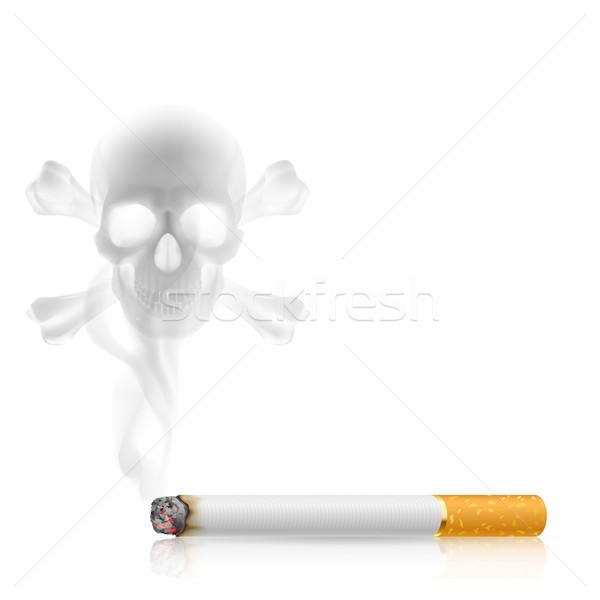 Cigaretta koponya alakú füst ki fehér Stock fotó © dvarg