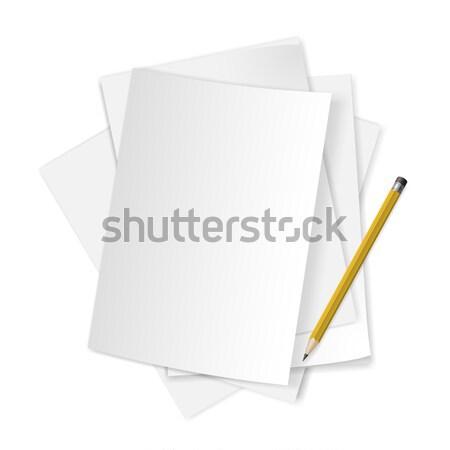 Stock foto: Papiere · Bleistift · weiß · Büro · Hintergrund