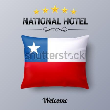 Zászló Panama kék piros négyzetek kút Stock fotó © dvarg
