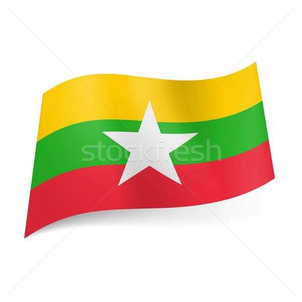 Bayrak cumhuriyet sendika Myanmar sarı yeşil Stok fotoğraf © dvarg