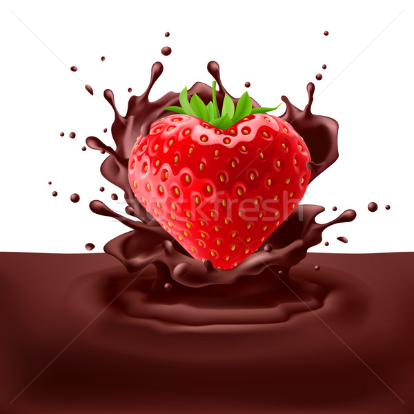 Strawberry heart with chocolate Stock photo © dvarg