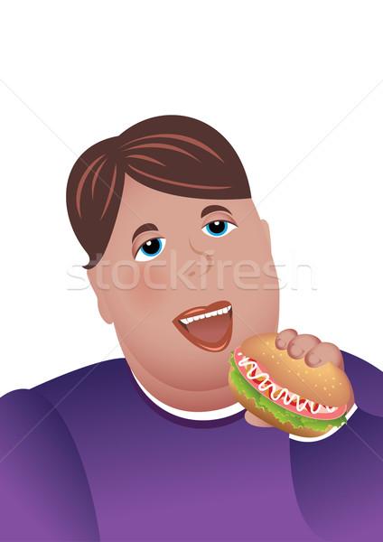 Сток-фото: сердиться · мальчика · еды · гамбургер · иллюстрация · белый