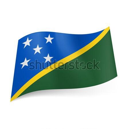 Bandiera Isole Salomone blu verde campi giallo Foto d'archivio © dvarg