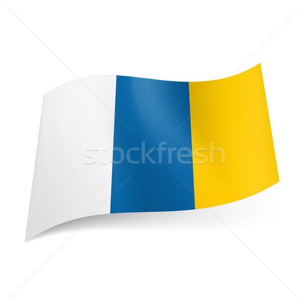 Bandeira canárias branco azul amarelo vertical Foto stock © dvarg