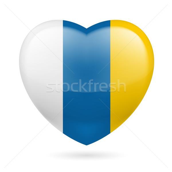 Coração ícone canárias amor bandeira cores Foto stock © dvarg