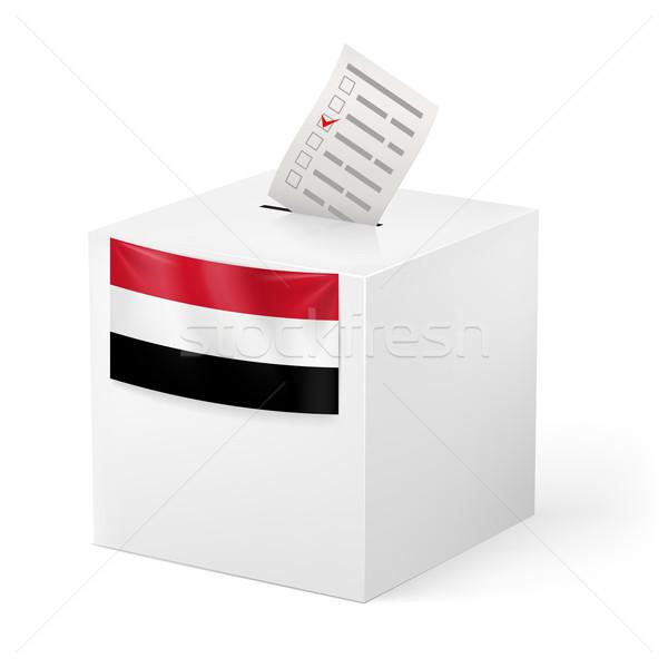 Oylama kutu kâğıt Yemen seçim Stok fotoğraf © dvarg