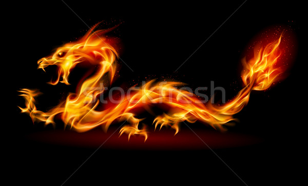 Fuoco Dragon abstract ardente illustrazione nero Foto d'archivio © dvarg