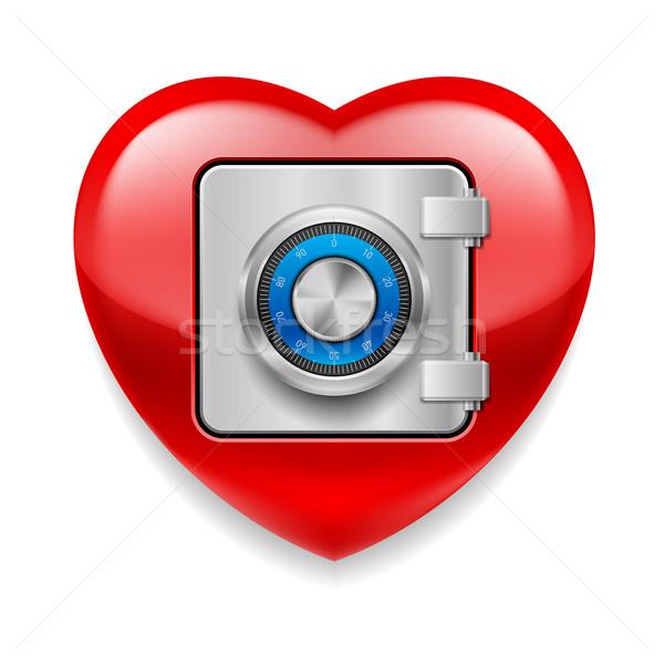 Brillante rojo corazón segura Foto stock © dvarg