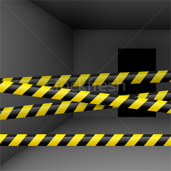 Dark room with danger tape Stock photo © dvarg