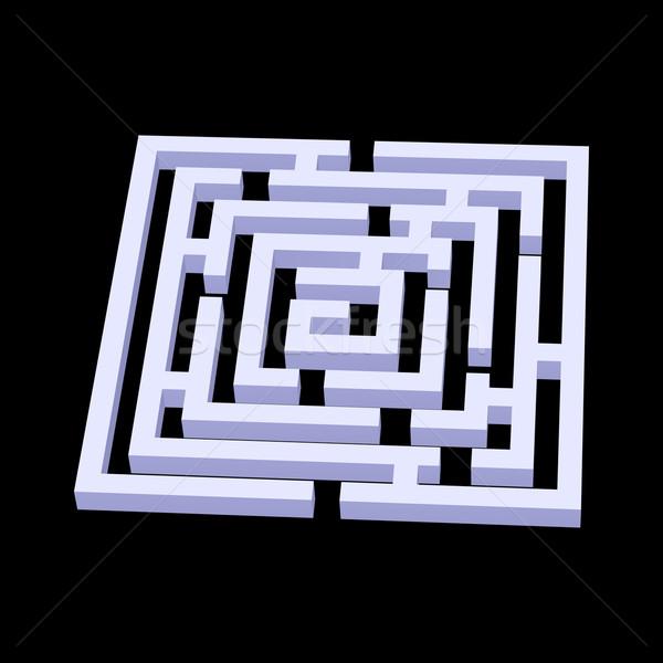 Labirintus fehér tér 3D fekete absztrakt Stock fotó © dvarg