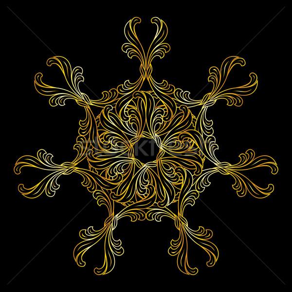 Złoty kwiatowy wzór ozdoba stylu złota Zdjęcia stock © dvarg