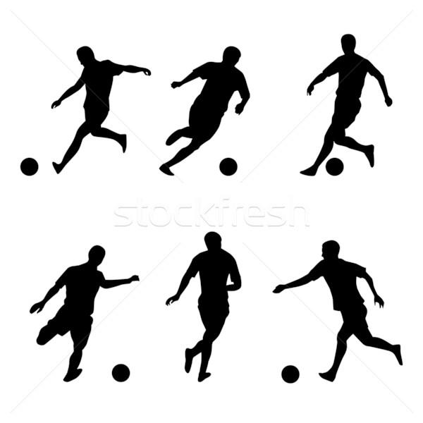 Stock fotó: Futball · futball · játékosok · sziluettek · illusztráció · fehér
