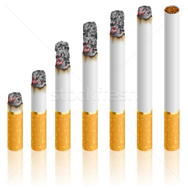 Сток-фото: набор · сигареты · различный · фон · дым · белый