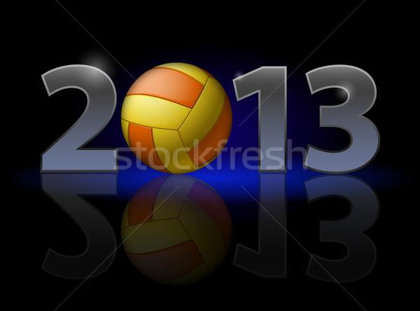 двадцать тринадцать год волейбол иллюстрация черный Сток-фото © dvarg