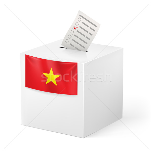 Ballot box with voicing paper. Vietnam. Stock photo © dvarg