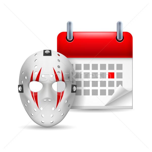 Hockey máscara calendario icono día deporte Foto stock © dvarg