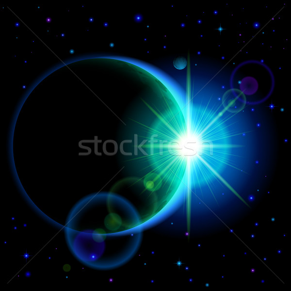 Dark planet with flare Stock photo © dvarg