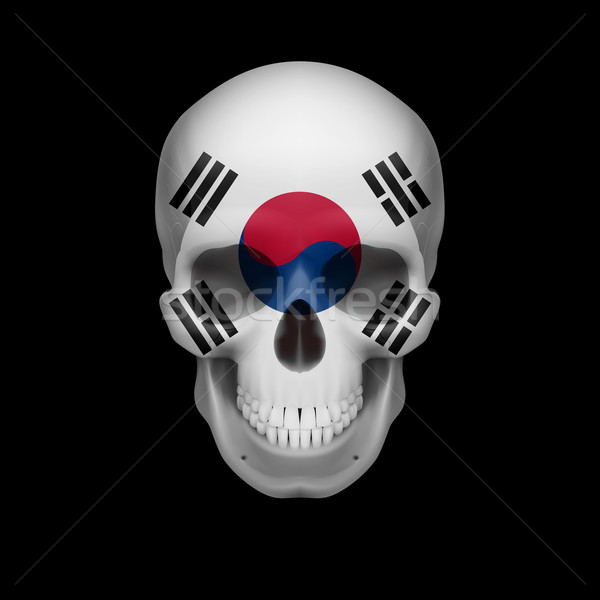 South Korean flag skull Stock photo © dvarg