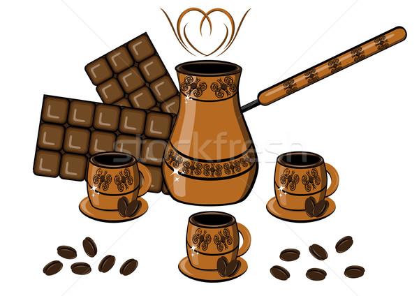 Coffee, chocolate, cup and coffee pot Stock photo © dvarg