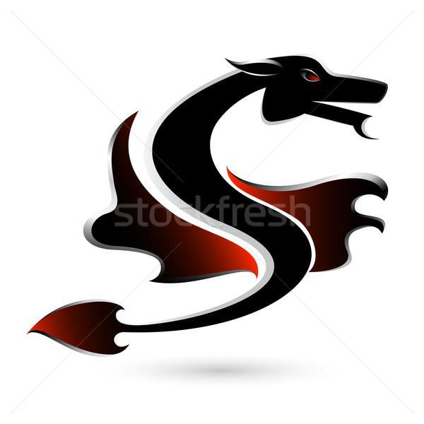 аннотация черный дракон иллюстрация белый дизайна Сток-фото © dvarg