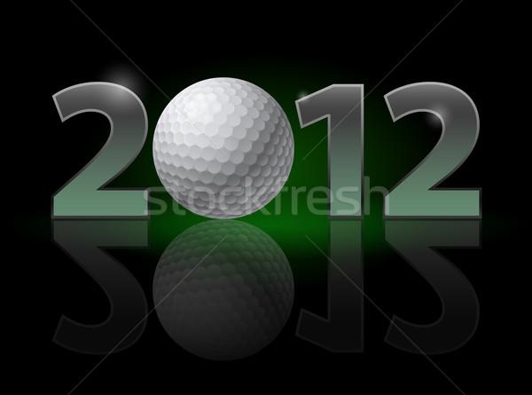 Vinte doze ano golfball ilustração preto Foto stock © dvarg