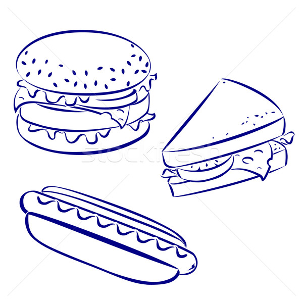 Stockfoto: Fast · food · iconen · zwart · wit · kijken · hamburger · hotdog