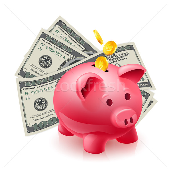 Moneybox - pig and dollars Stock photo © dvarg