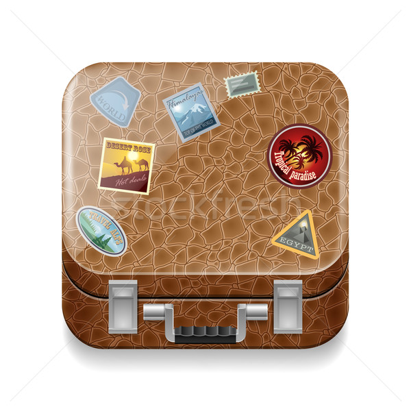 Leather suitcase with stickers Stock photo © dvarg
