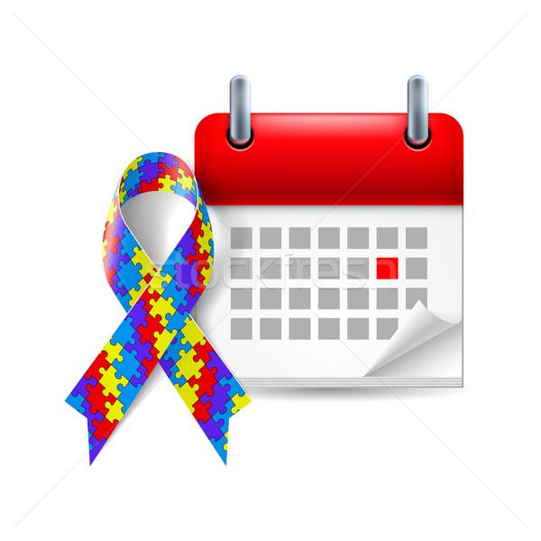 Puzzel bewustzijn lint kalender dag autisme Stockfoto © dvarg