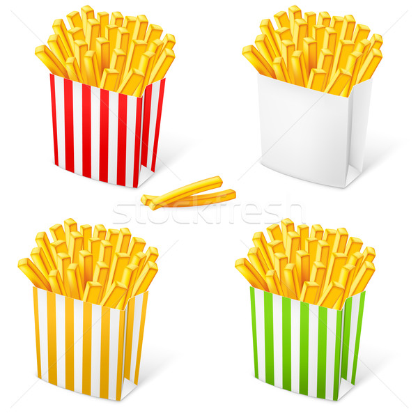 French fries in a multi-colored striped packaging Stock photo © dvarg