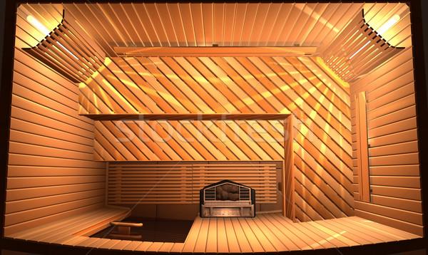 Sauna ahşap buhar oda 3d illustration üst Stok fotoğraf © dvarg