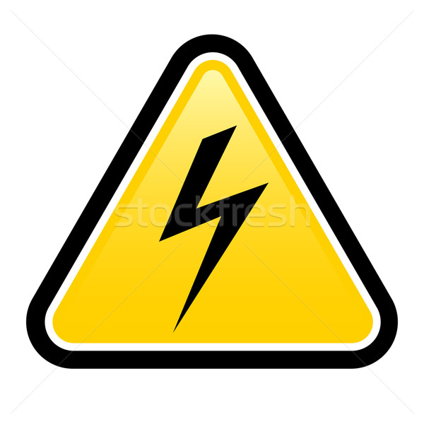 Haute tension jaune triangle signe symbole Photo stock © dvarg